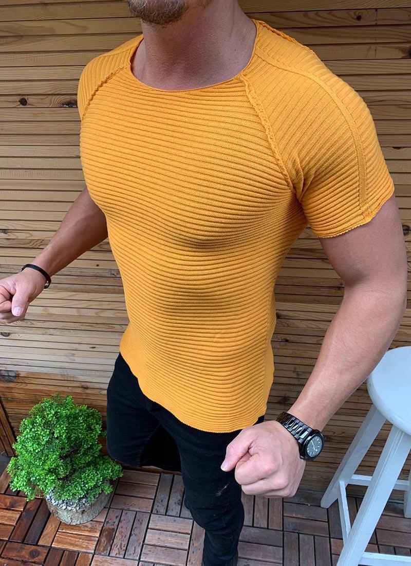 Мъжка жълта блуза с къс ръкав