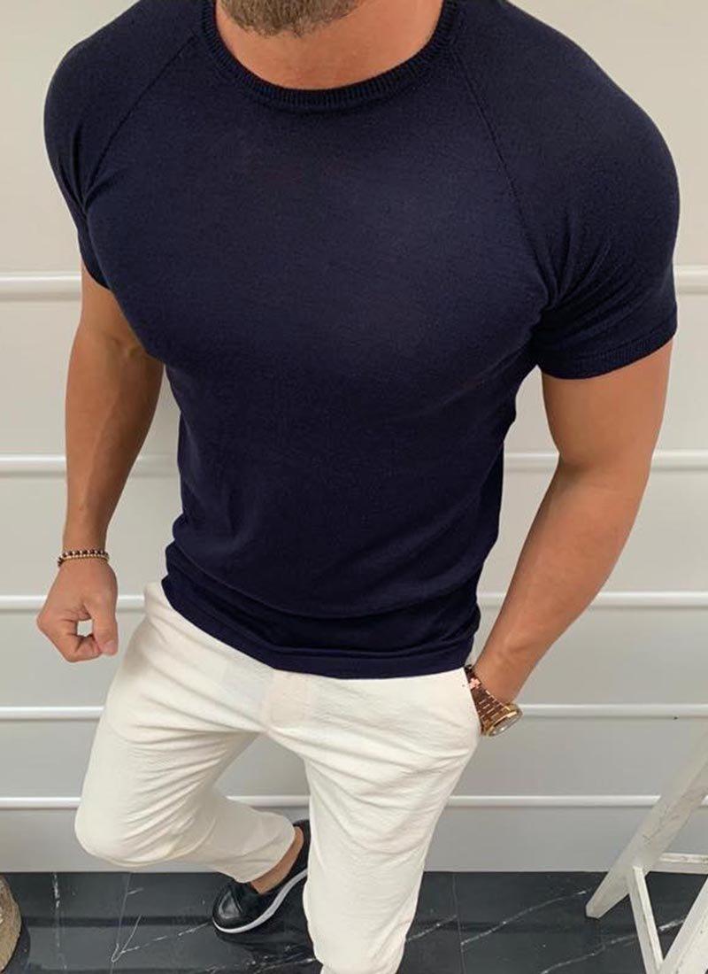 Мъжка вталена тъмно синя тениска