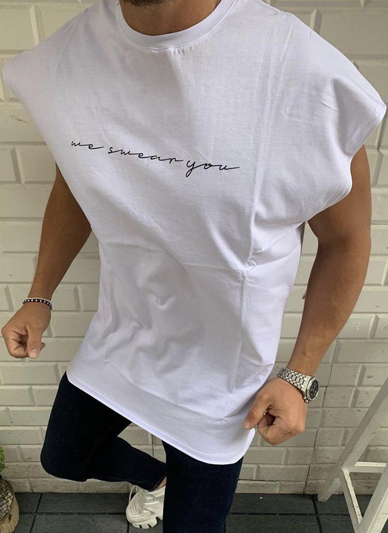 Мъжка бяла тениска черен надпис