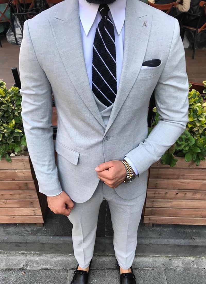 Мъжки втален сив костюм