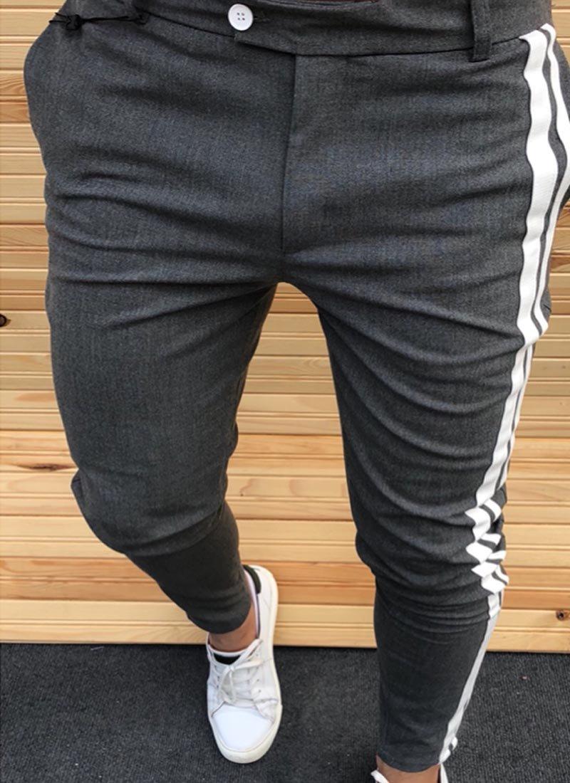 Мъжки тъмно сив панталон бяла лента