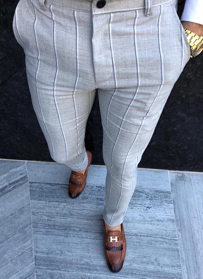 Мъжки сив панталон райе