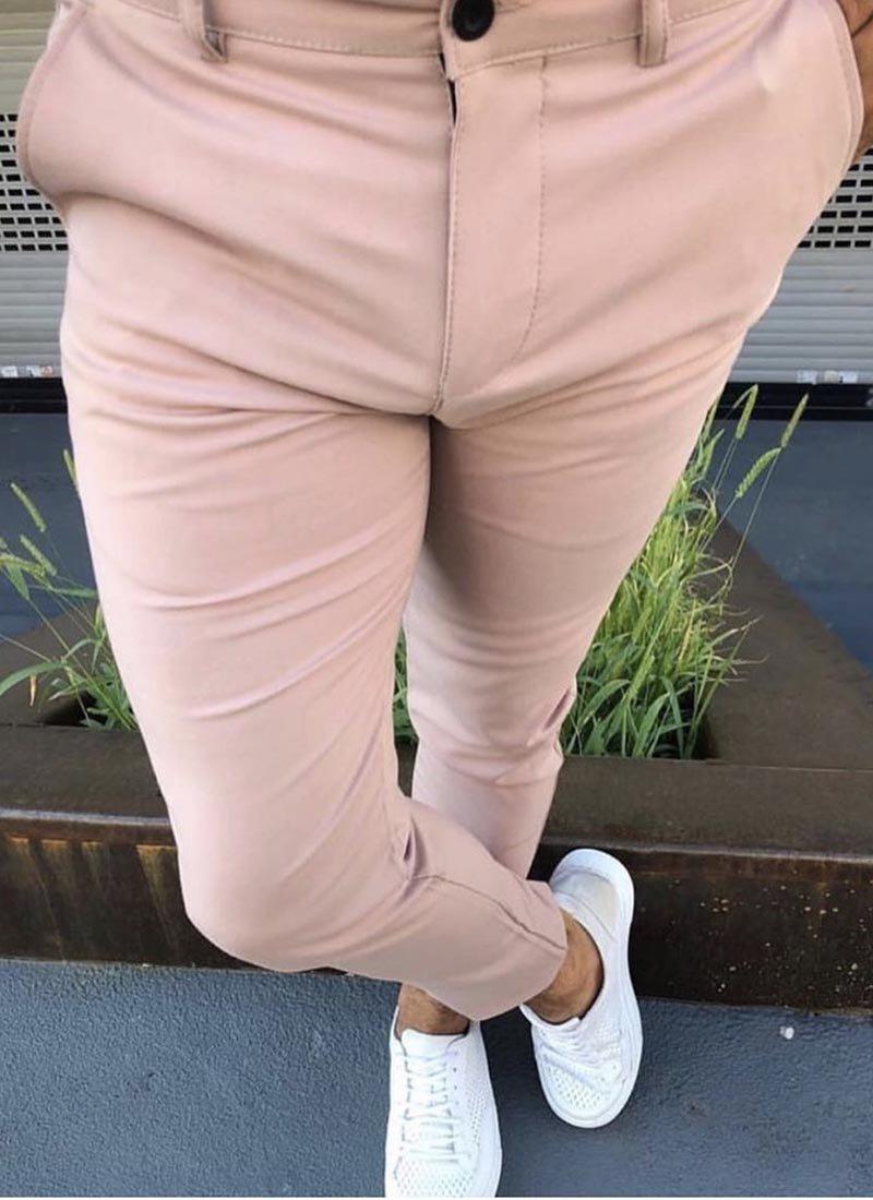 Мъжки елегантен панталон в розов цвят П171
