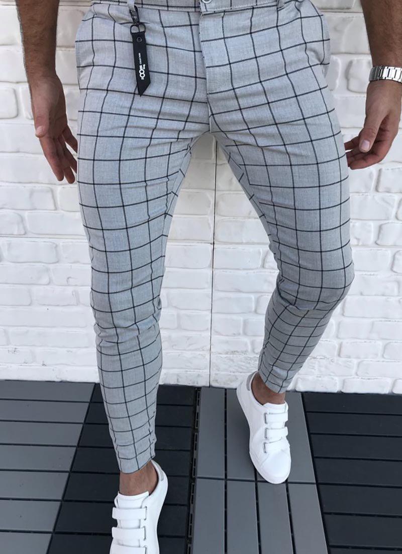 Мъжки сив панталон черно каре