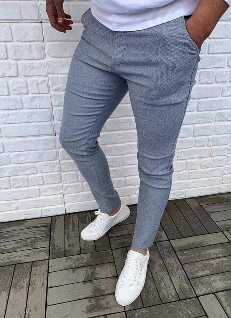 Мъжки елегантен сиво син панталон