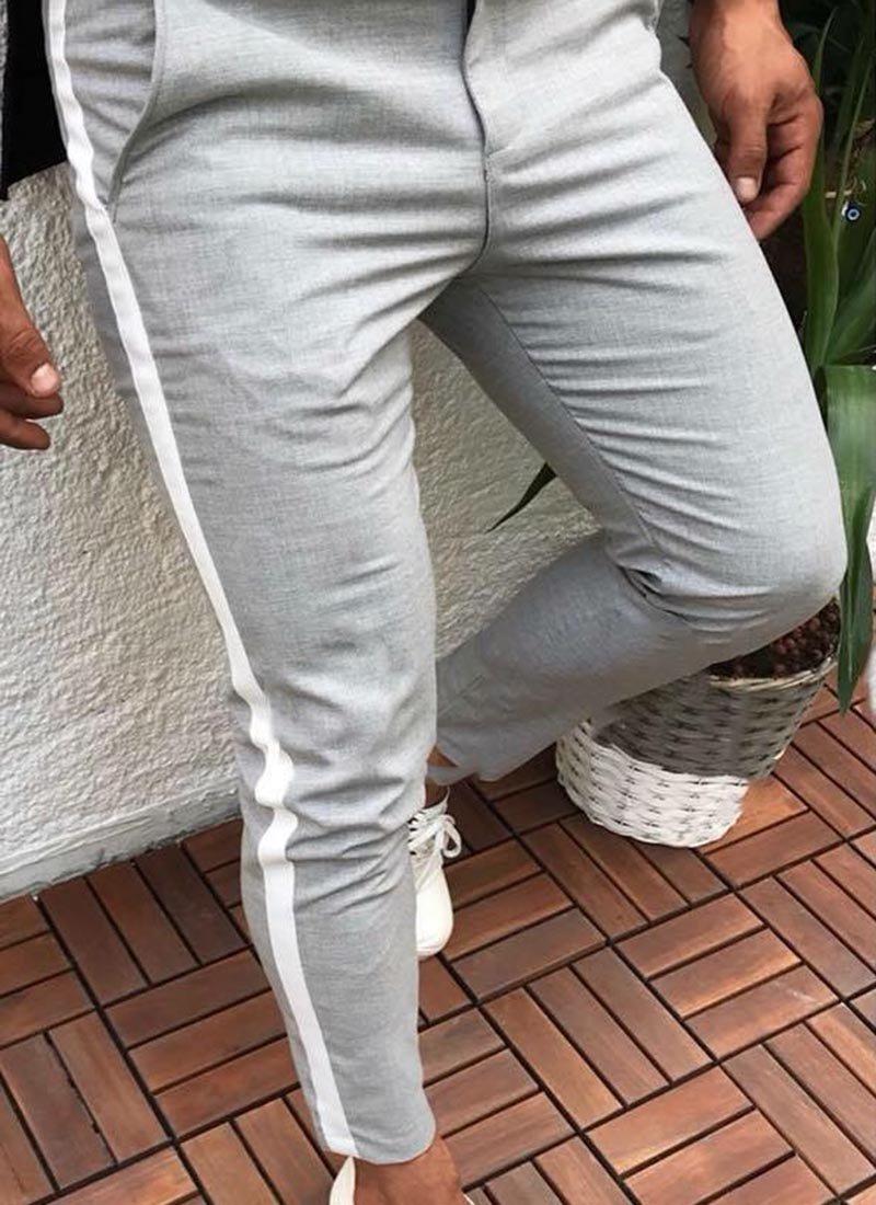 Мъжки сив панталон с бяла лента