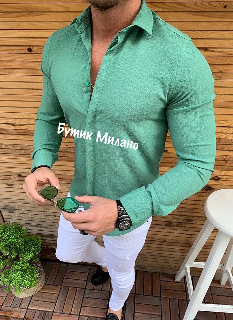 Мъжка изчистена риза в зелен цвят Р252