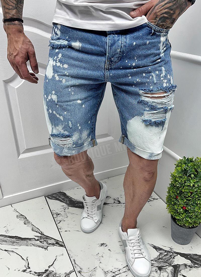 Мъжки къси сини дънки избелели