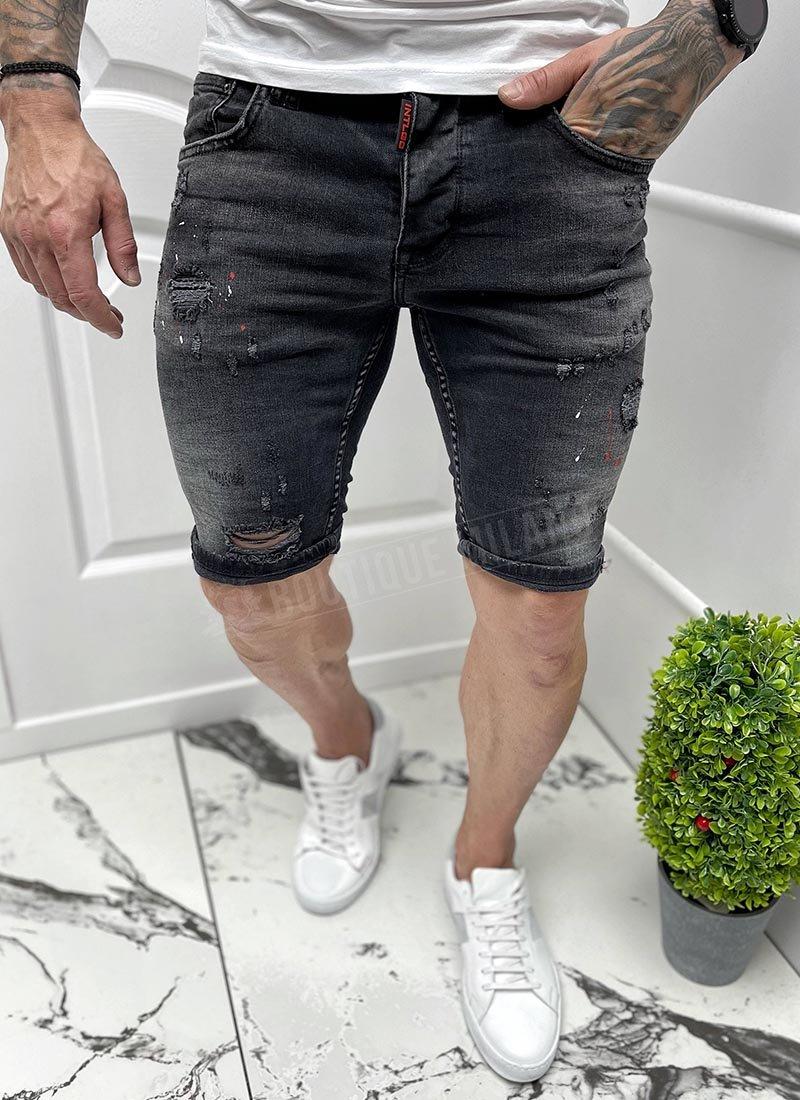 Мъжки къси черни дънки напръскани