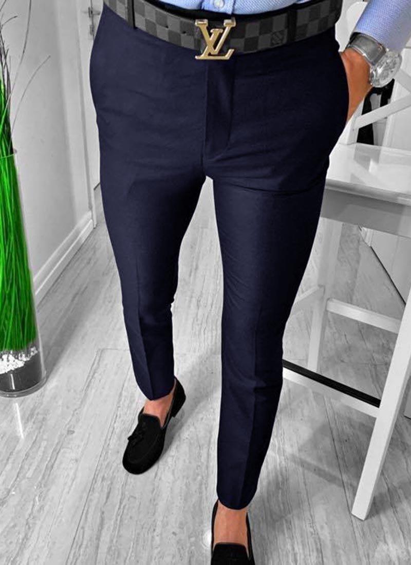 Мъжки елегантен панталон тъмно син цвят П9085-2