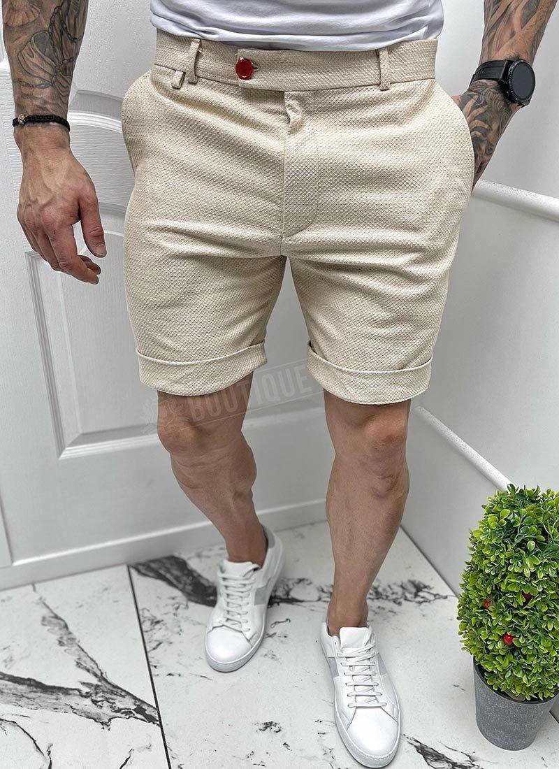 Мъжки къси бежови панталони изчистени