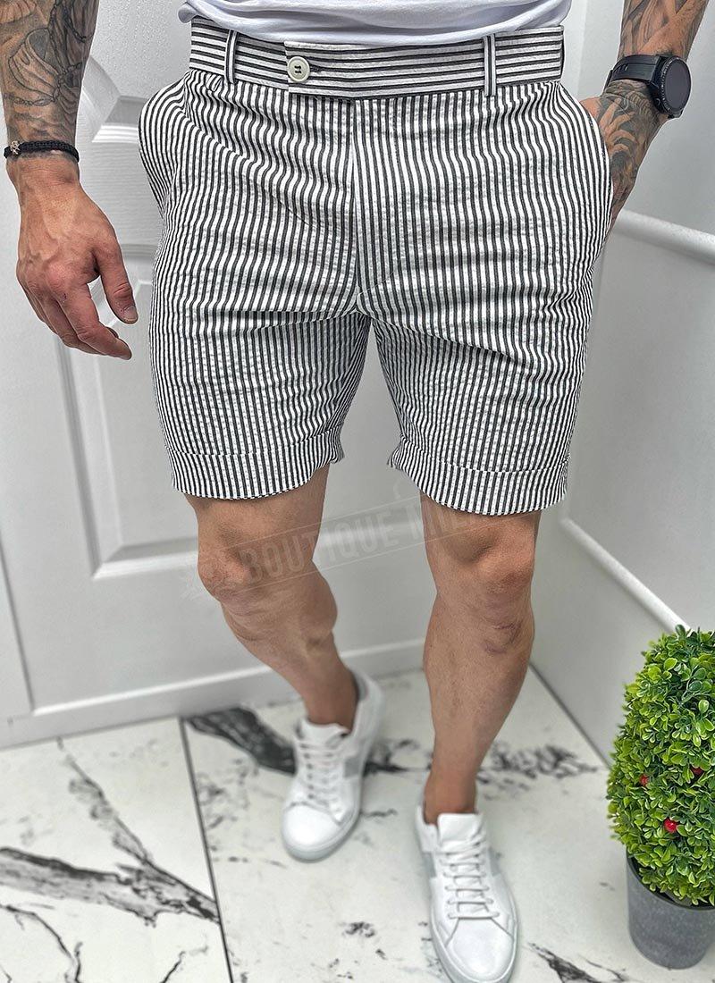 Мъжки къси бели панталони черно райе
