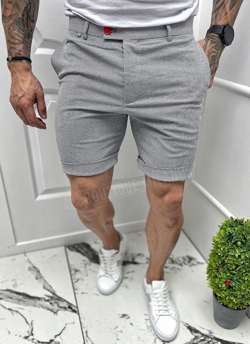 Мъжки къси панталони сиво ситно каре