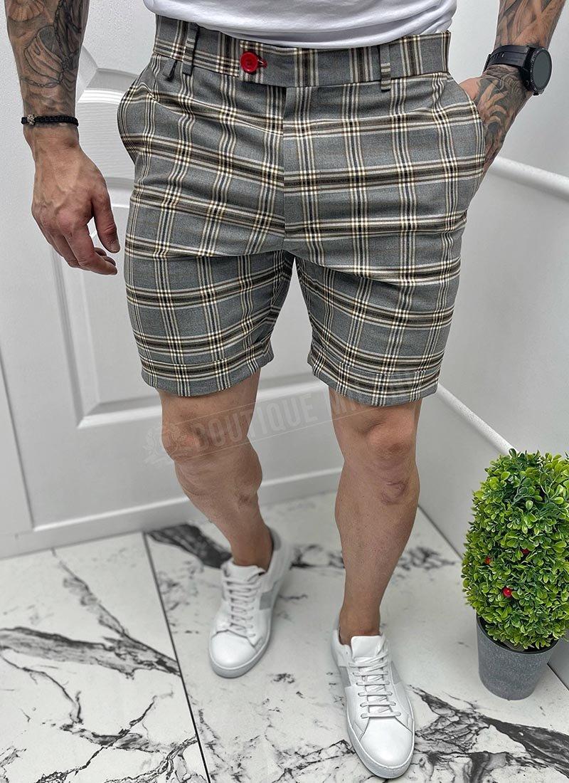 Мъжки къси панталони сиво кафяво каре