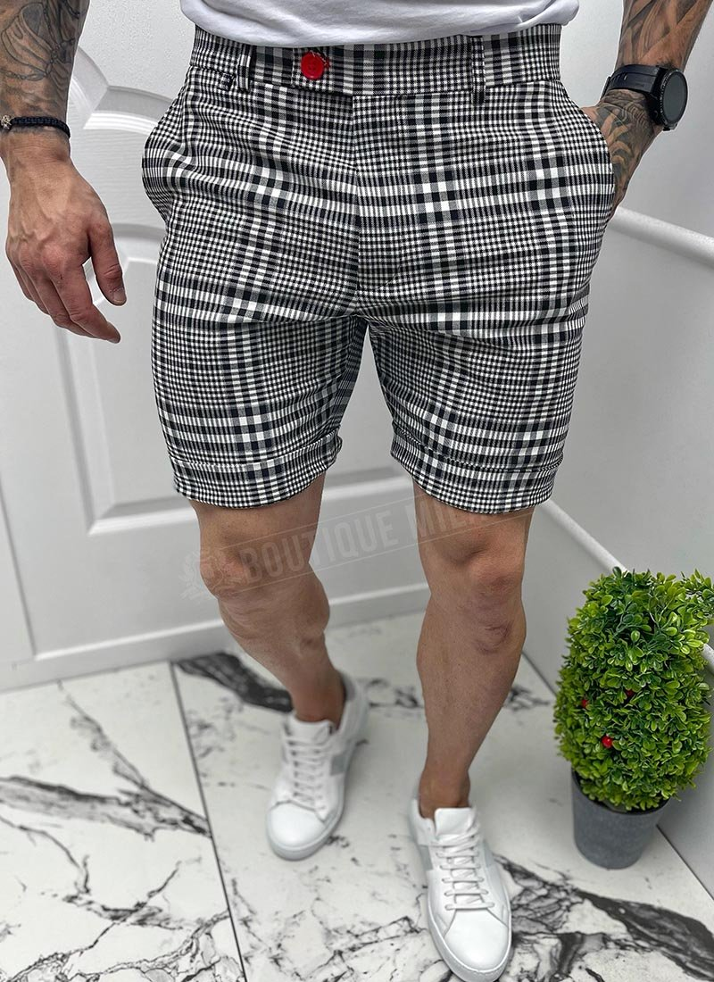 Мъжки къси бели панталони черно каре