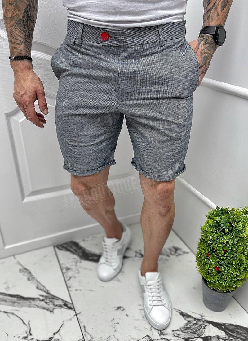 Мъжки къси панталони тъмно сиво ситно каре