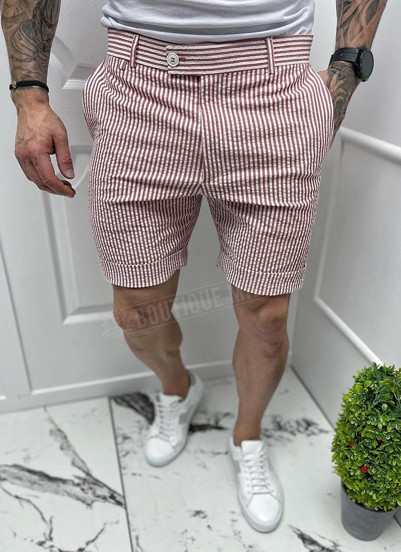 Мъжки къси бели панталони червено райе