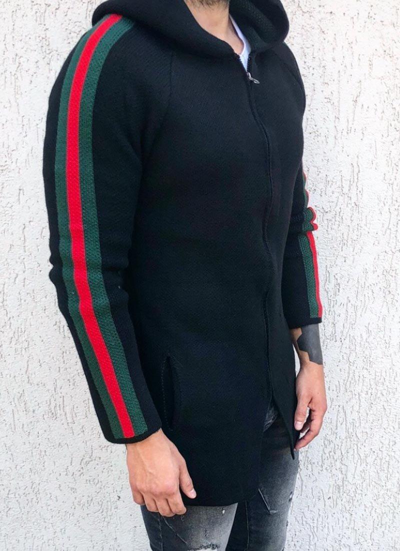 Мъжка черна жилетка с цветни ленти