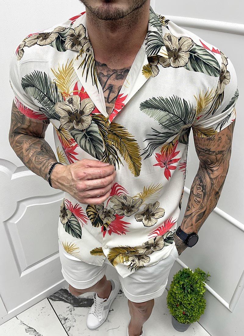 Мъжка риза къс ръкав бяла на цветя Р403