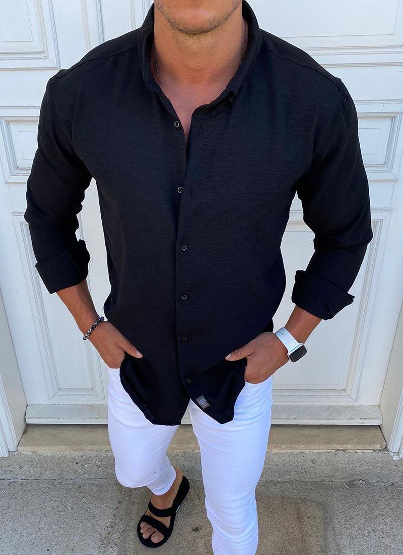 Спортно елегантна мъжка риза в бяло