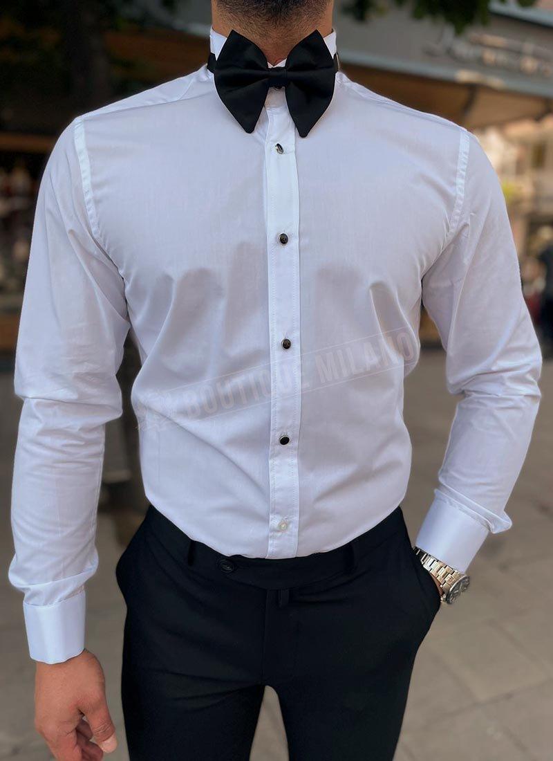 Мъжка бяла риза за папионка с черни копчета