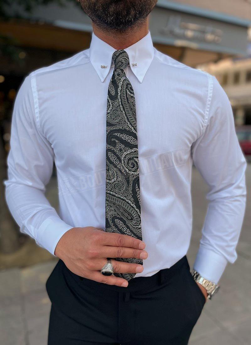 Мъжка официална бяла риза с игла