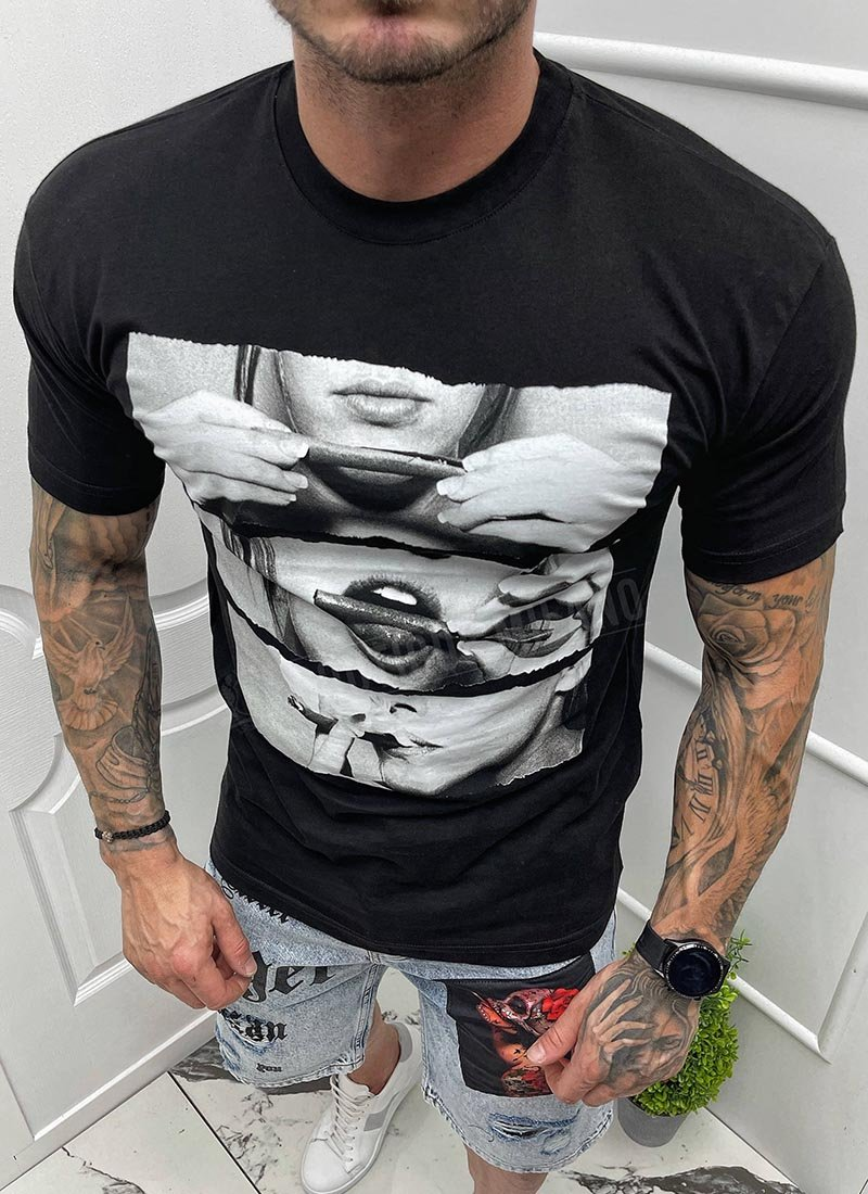 Мъжка тениска в черно с щампа Т1035-2