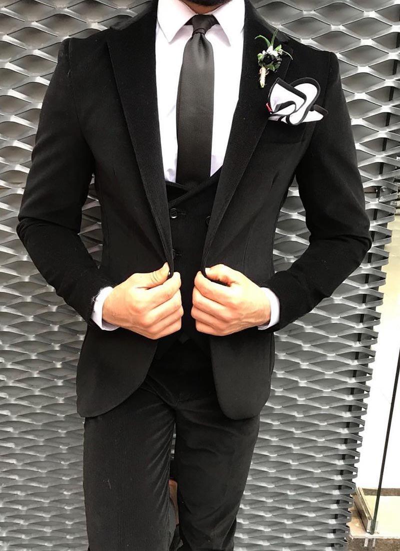 Мъжки втален костюм черен джинсов