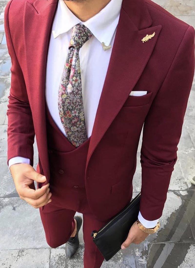 Мъжки елегантен втален костюм цвят бордо