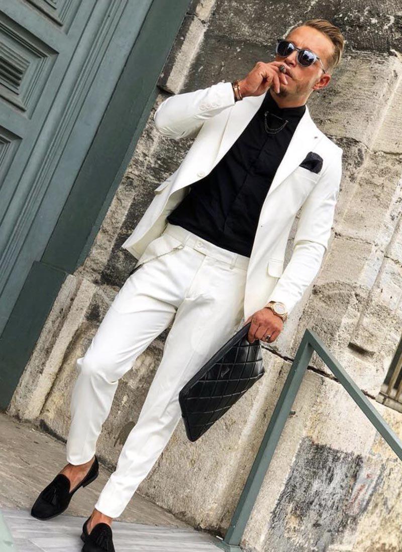 Мъжки втален бял костюм