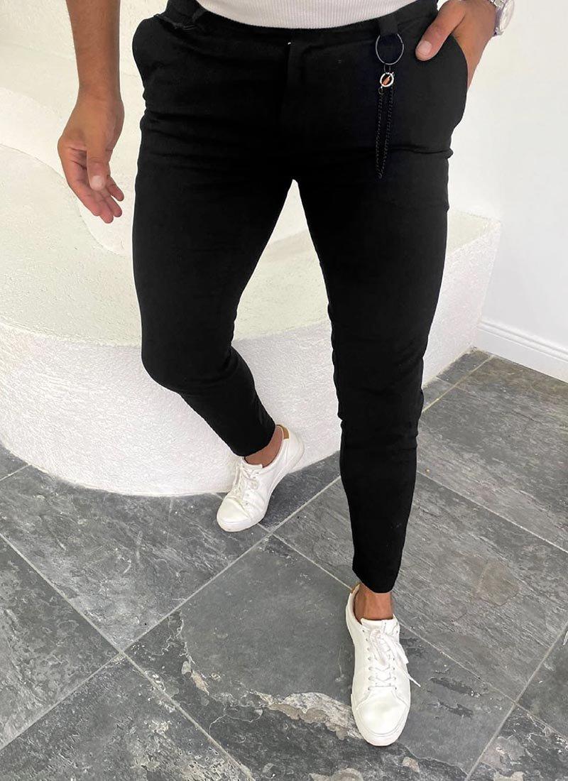 Мъжки спортно елегантен черен панталон