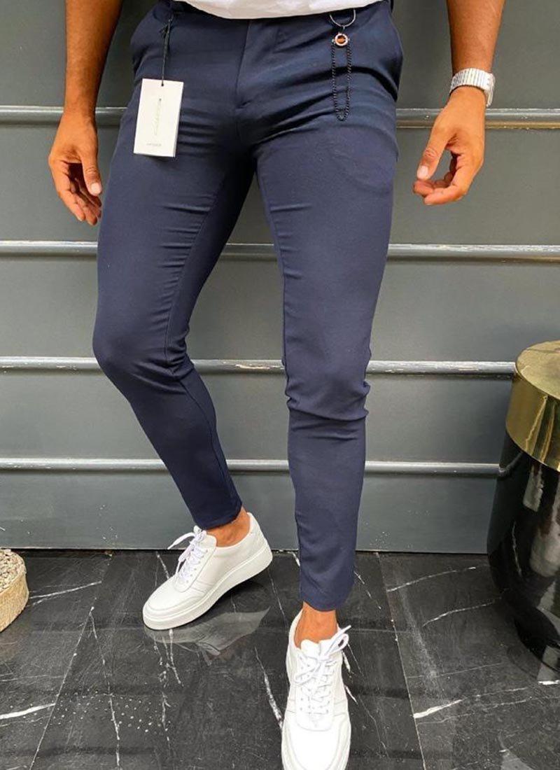 Мъжки спортно елегантен тъмно син панталон