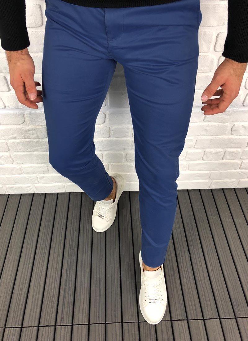 Мъжки елегантен панталон в синьо