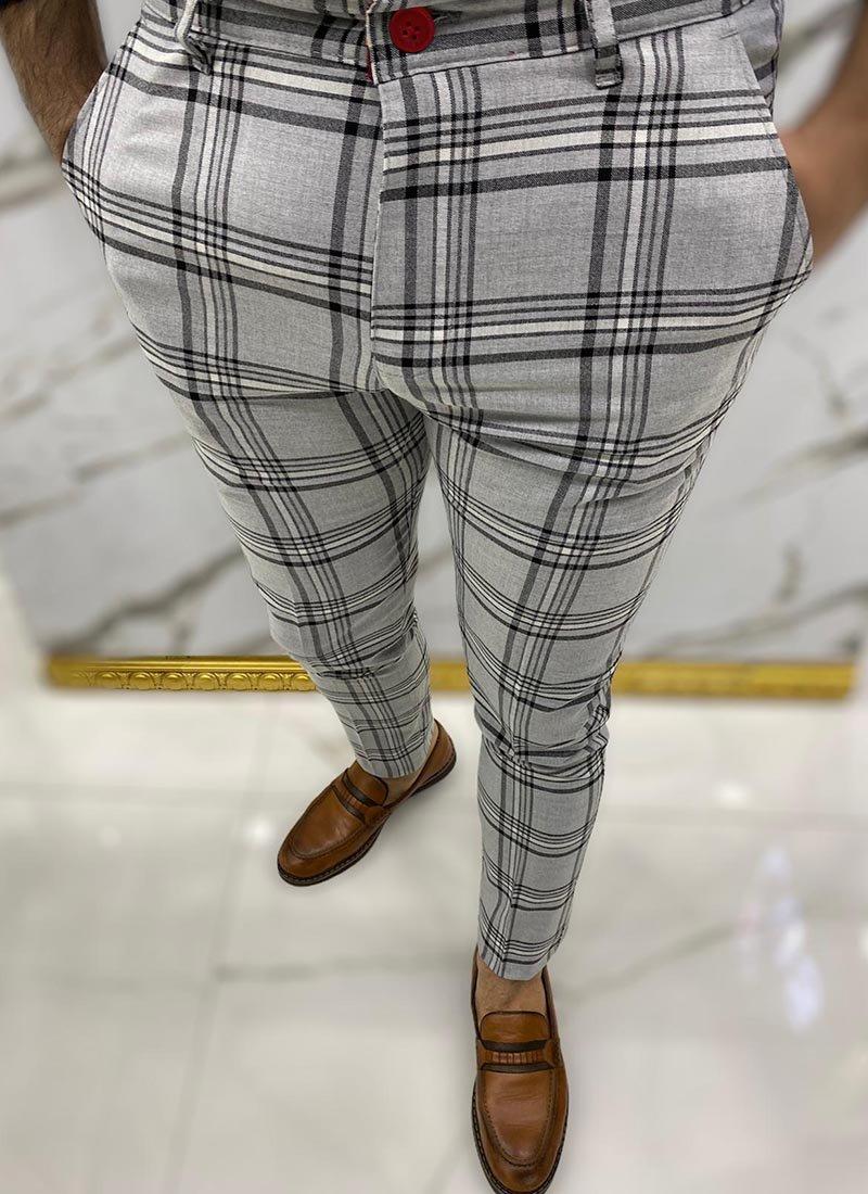 Мъжки елегантен панталон сив цвят каре