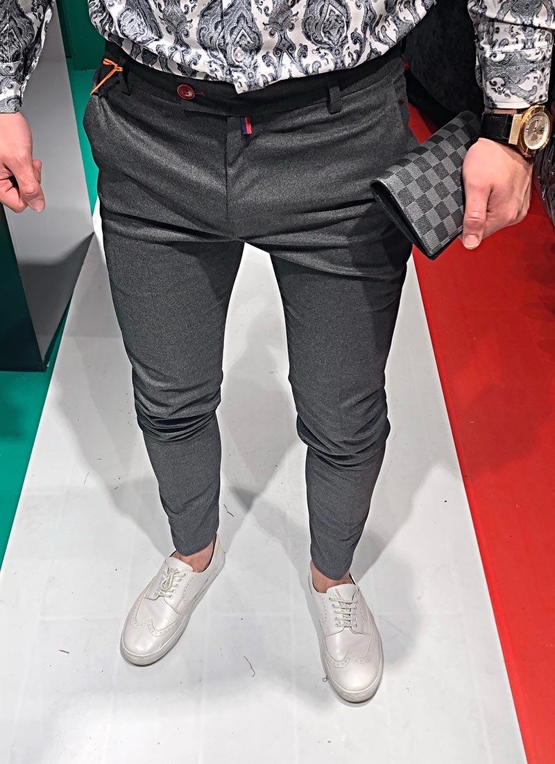 Мъжки елегантен панталон тъмно сив П183