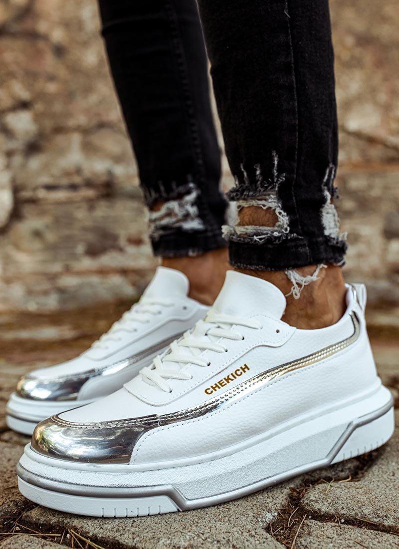 Мъжки спортни обувки бяло и сребристо CH041-BZ-GU