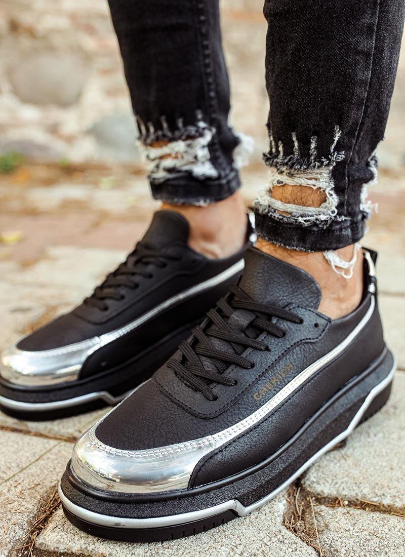 Мъжки обувки черно и сребристо