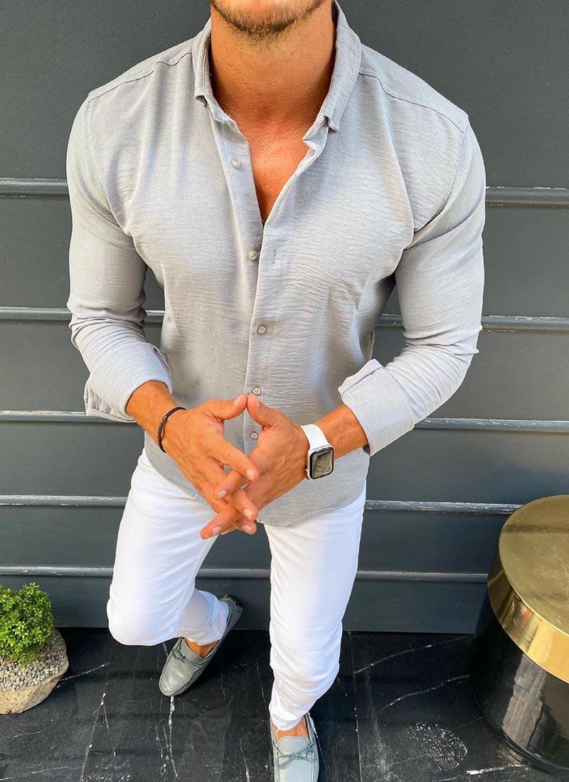 Спортно елегантна мъжка риза в сиво