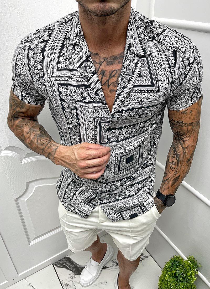 Мъжка риза къс ръкав черно-бяла