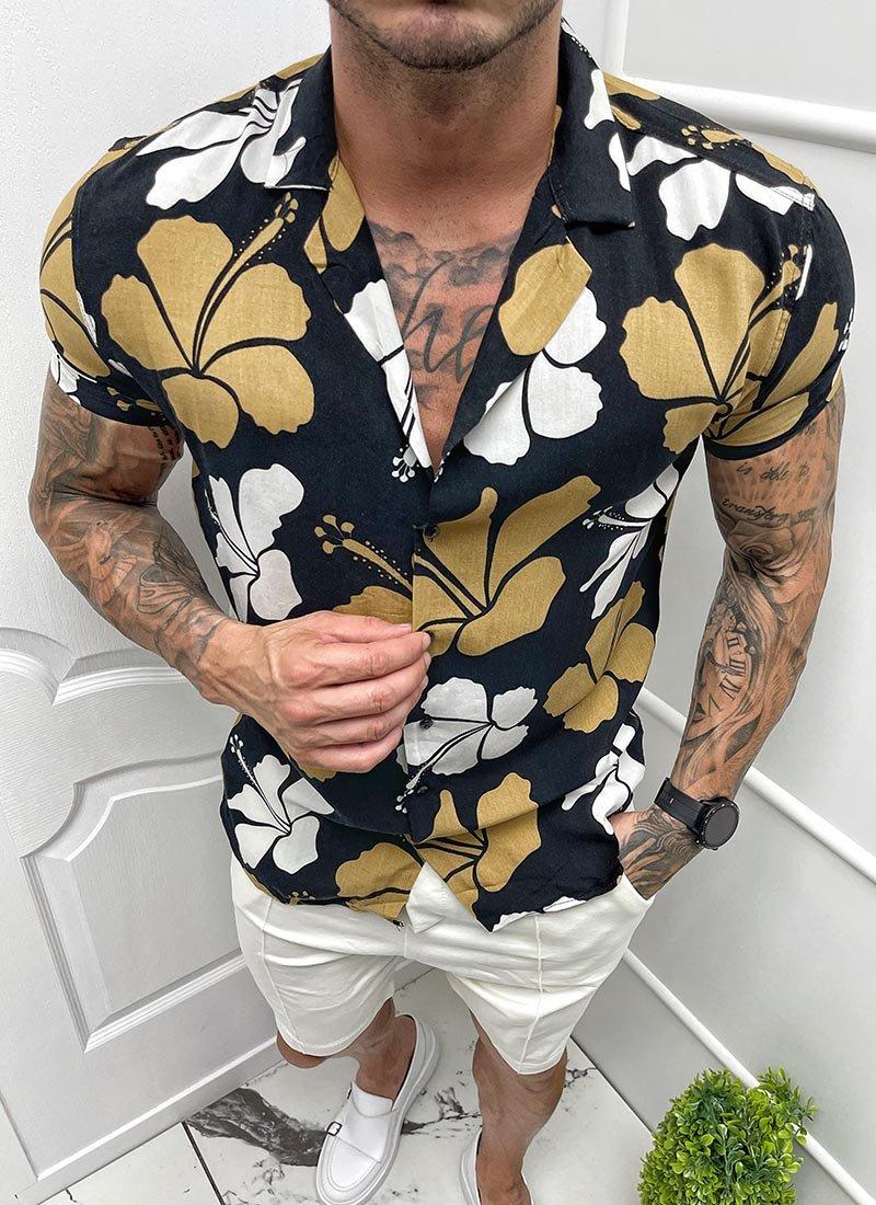 Мъжка черна риза къс ръкав бели и кафяви цветя