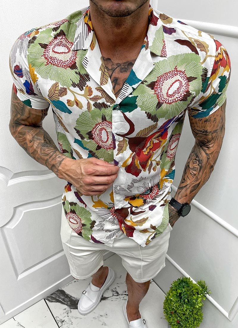 Мъжка бяла риза къс ръкав на цветя