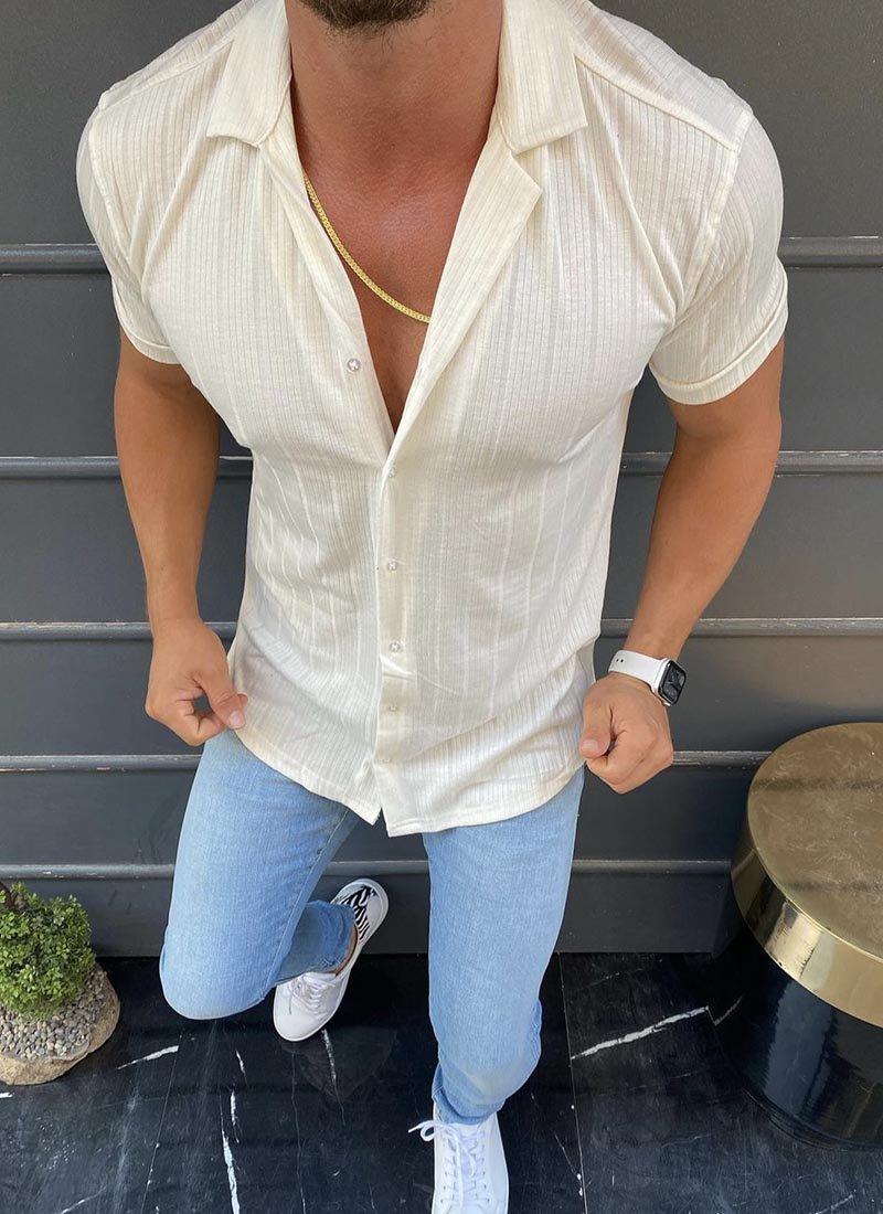 Мъжка бяла риза с къс ръкавМъжка бяла риза с къс ръкав