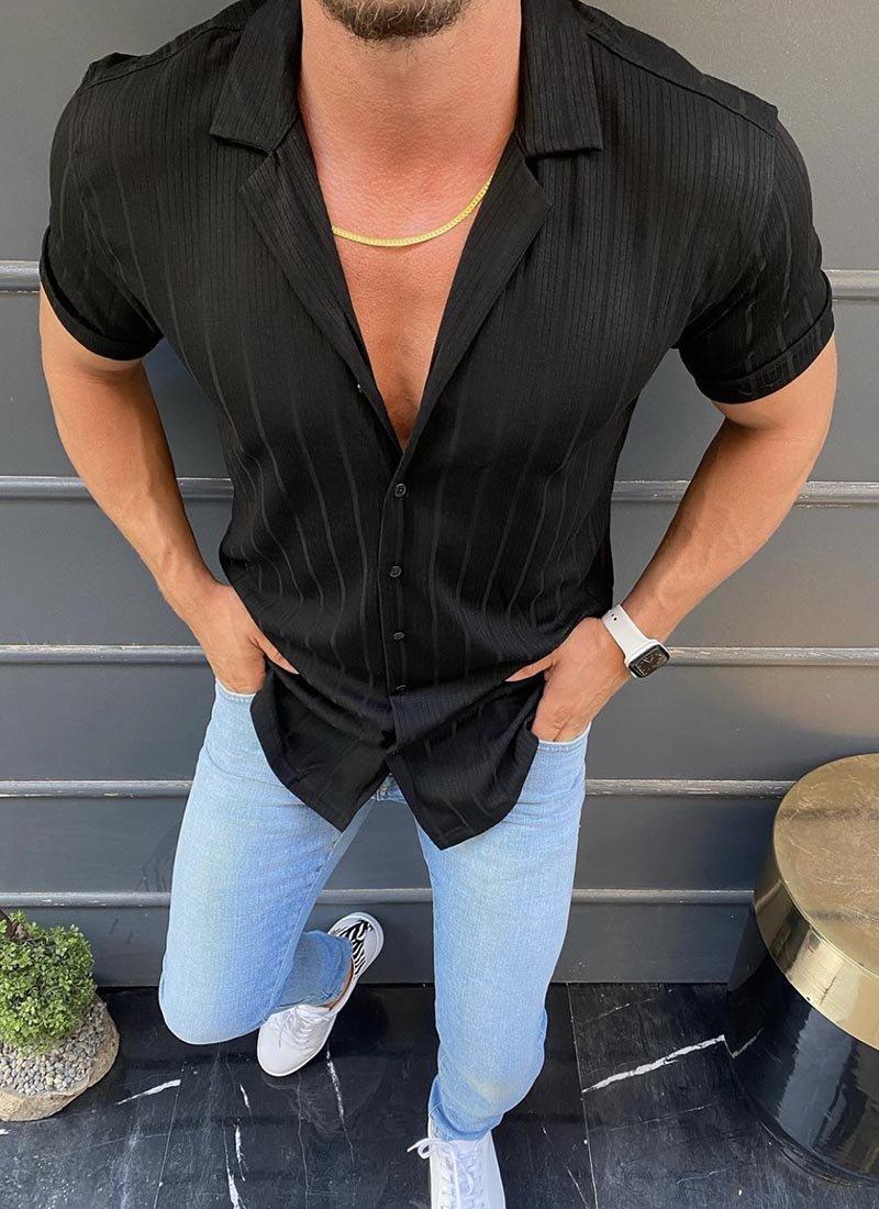 Мъжка черна риза с къс ръкав