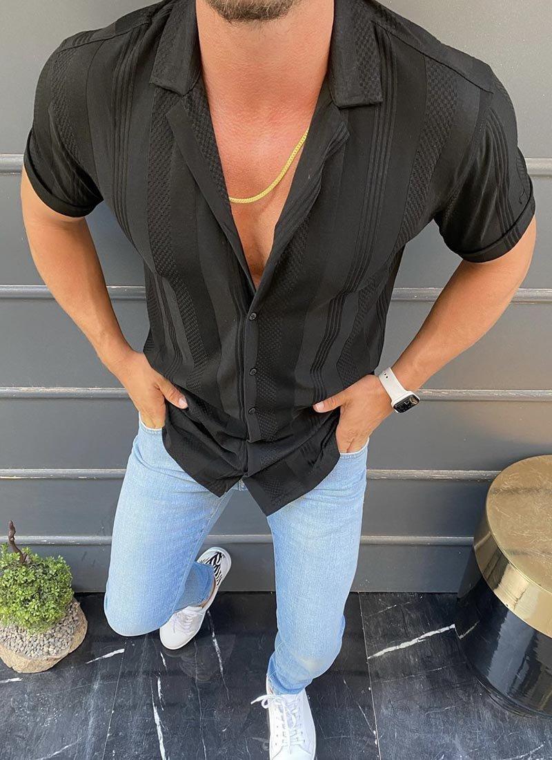 Мъжка риза в черно с къс ръкав
