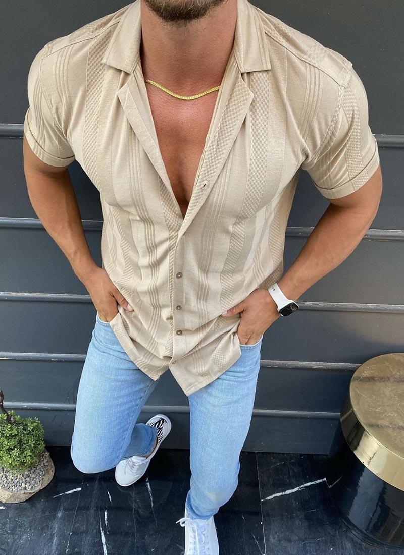 Мъжка риза в бежово с къс ръкав