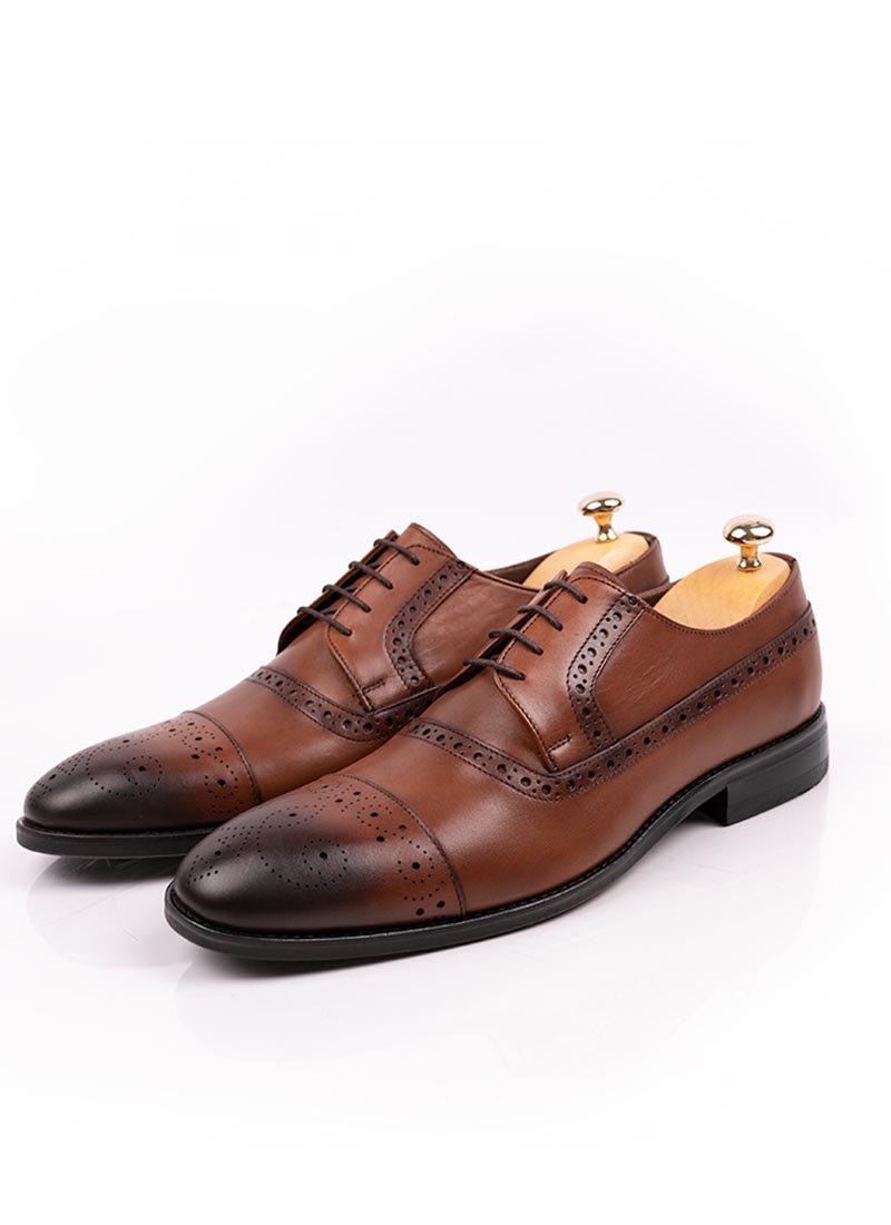 Мъжки кожени кафяви обувки с връзки