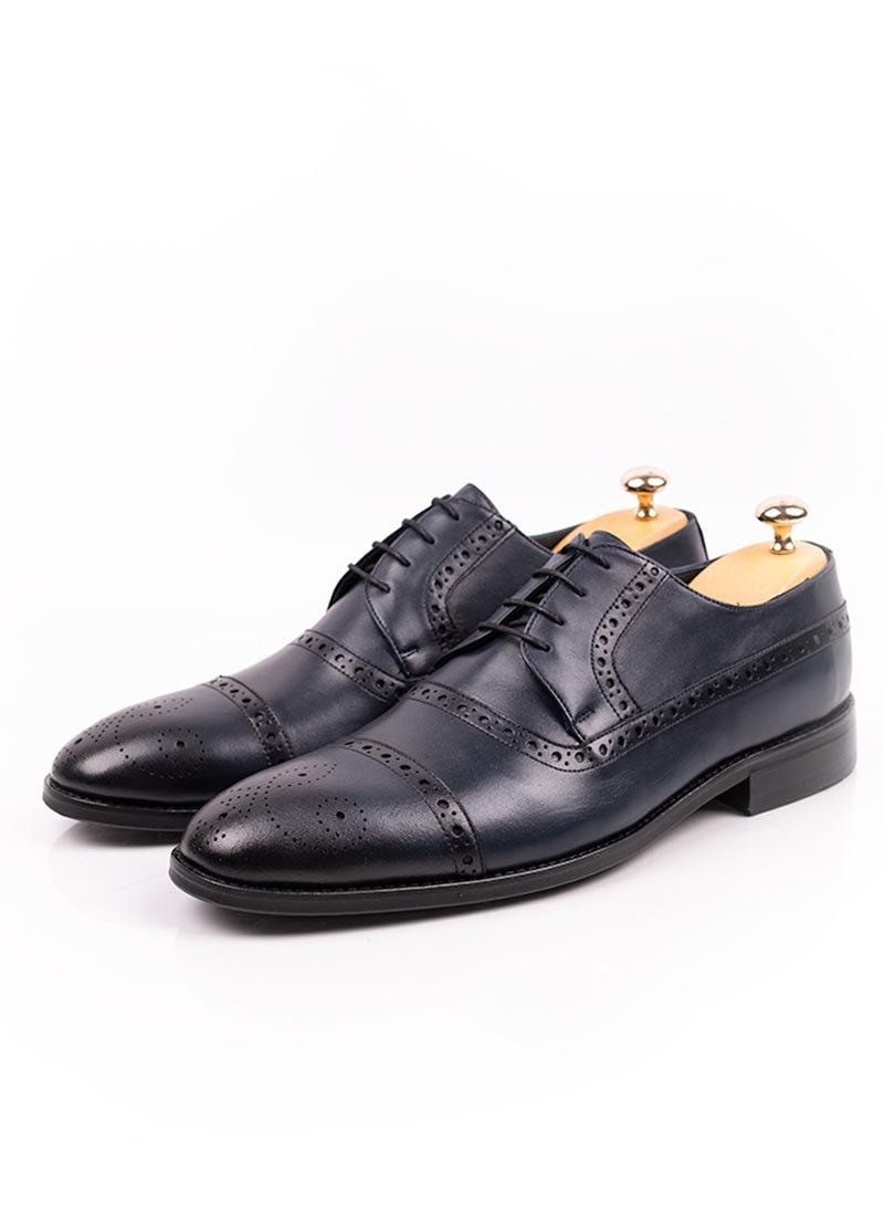 Мъжки тъмно сини обувки с връзки