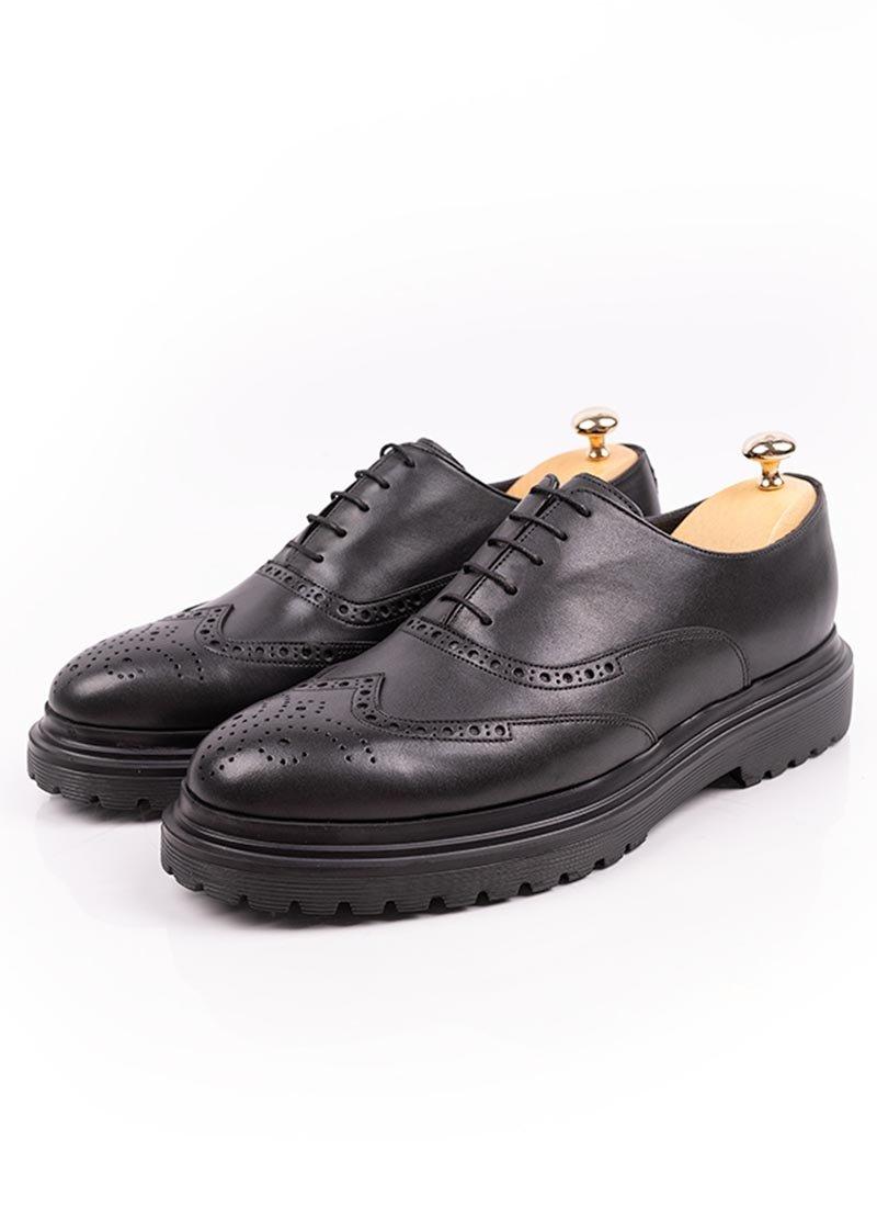 Мъжки кожени черни обувки с връзки