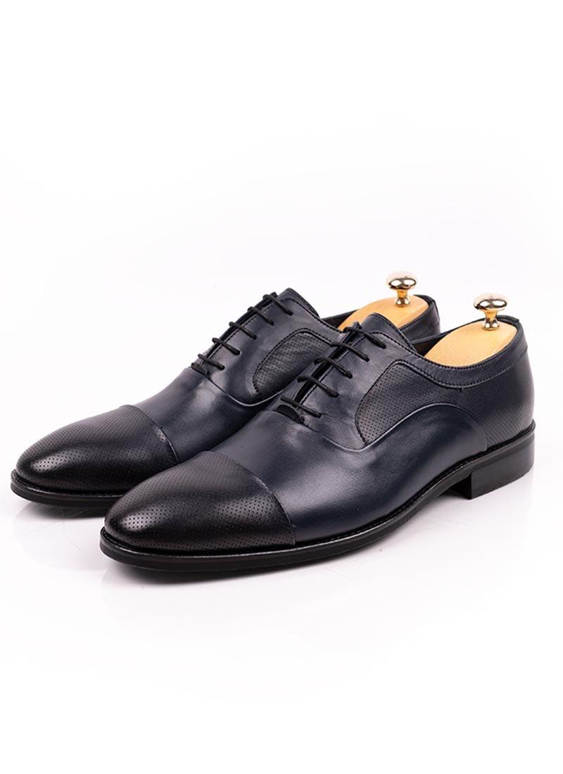 Мъжки елегантни тъмно сини обувки връзки