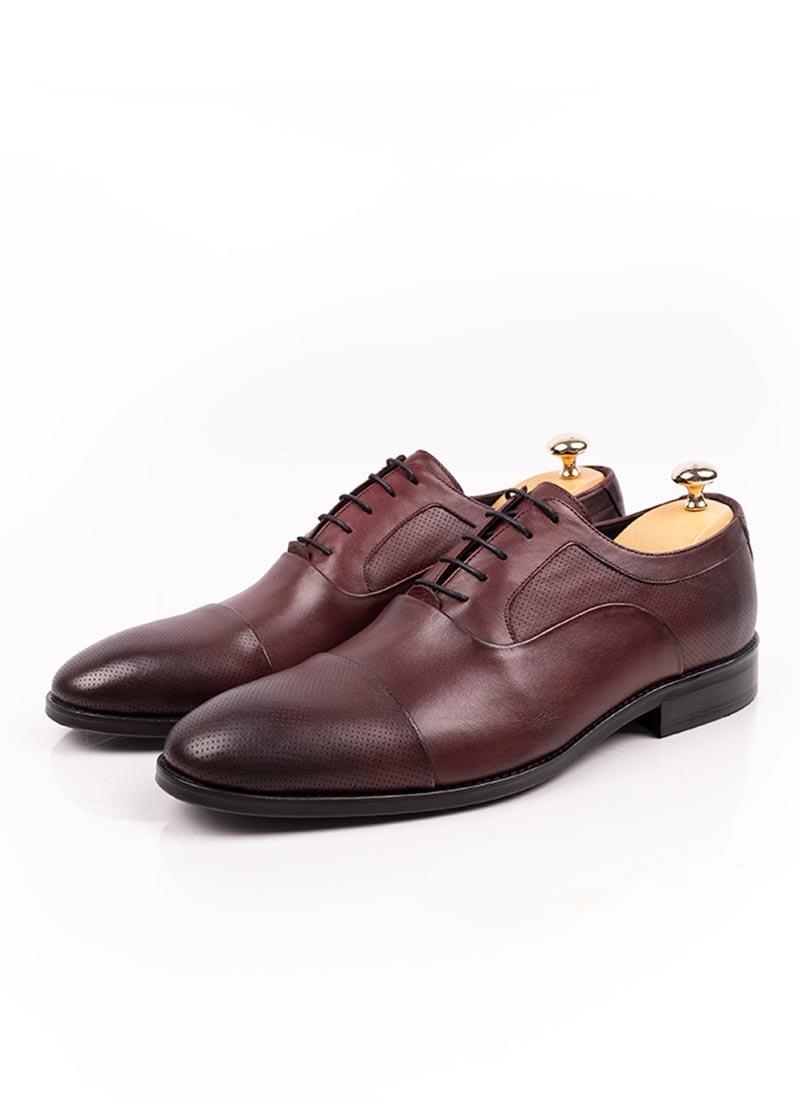 Мъжки елегантни обувки бордо с връзки